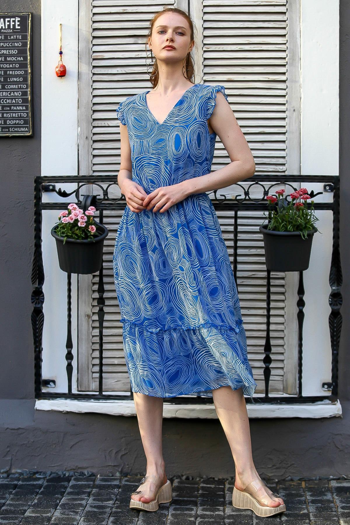 Chiccy Kadın Mavi V Yaka Kolsuz Çizgi Desenli Astarlı Şifon Elbise M10160000El94790