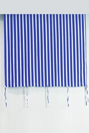 Setekshome Boy:200 Kalın - Su Geçirmez Düğmeli Bağcıklı Balkon Perdesi Mavi-beyaz
