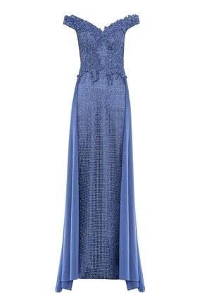 Abiye Sarayı Kadın  Mavi Kuyruk Detaylı Boncuk Işlemeli Uzun Abiye
