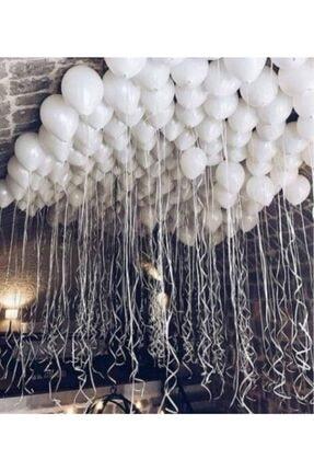 New Eco 50 Adet Beyaz Metalik Balon Helyum Gazı Uyumlu Parlak Balon