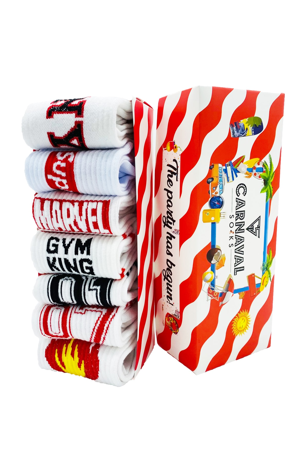 CARNAVAL SOCKS 7'li Spor-2 Gym Atletik Spor Çorap Set  1023 1