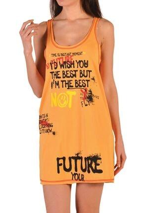 Nicoletta Sarı Kadın Tunik Geniş Askılı