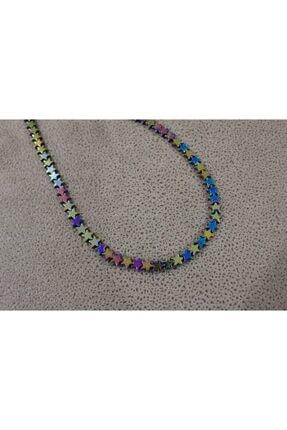 Shine Jewelery Paslanmaz Çelik Renkli Yıldız Hematit Kolye