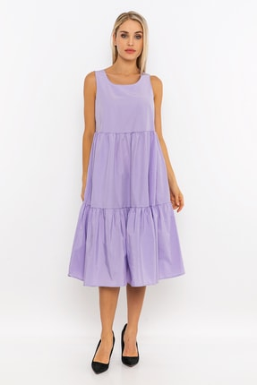 METKON Lila Rahat Kesim Fırfırlı Elbise