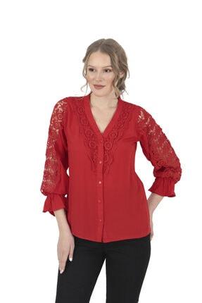 Modagusto Raglan Kol Fırfırlı Kırmızı Gömlek