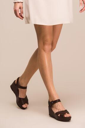 İnci Hakiki Deri Kahverengi Kadın Dolgu Topuk Ayakkabı 120130001508