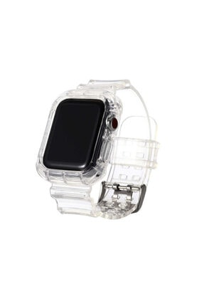Apple Watch 38 Mm Şeffaf Sert Plastik Sportif Kordon Kayış Şeffaf + Popsocket Uyumlu