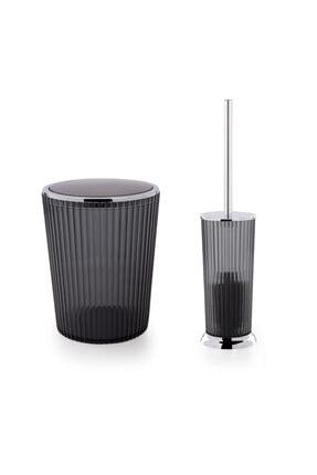 Prima Nova Nely Çöp Kovası + Tuvalet Fırçası 2'li  Siyah