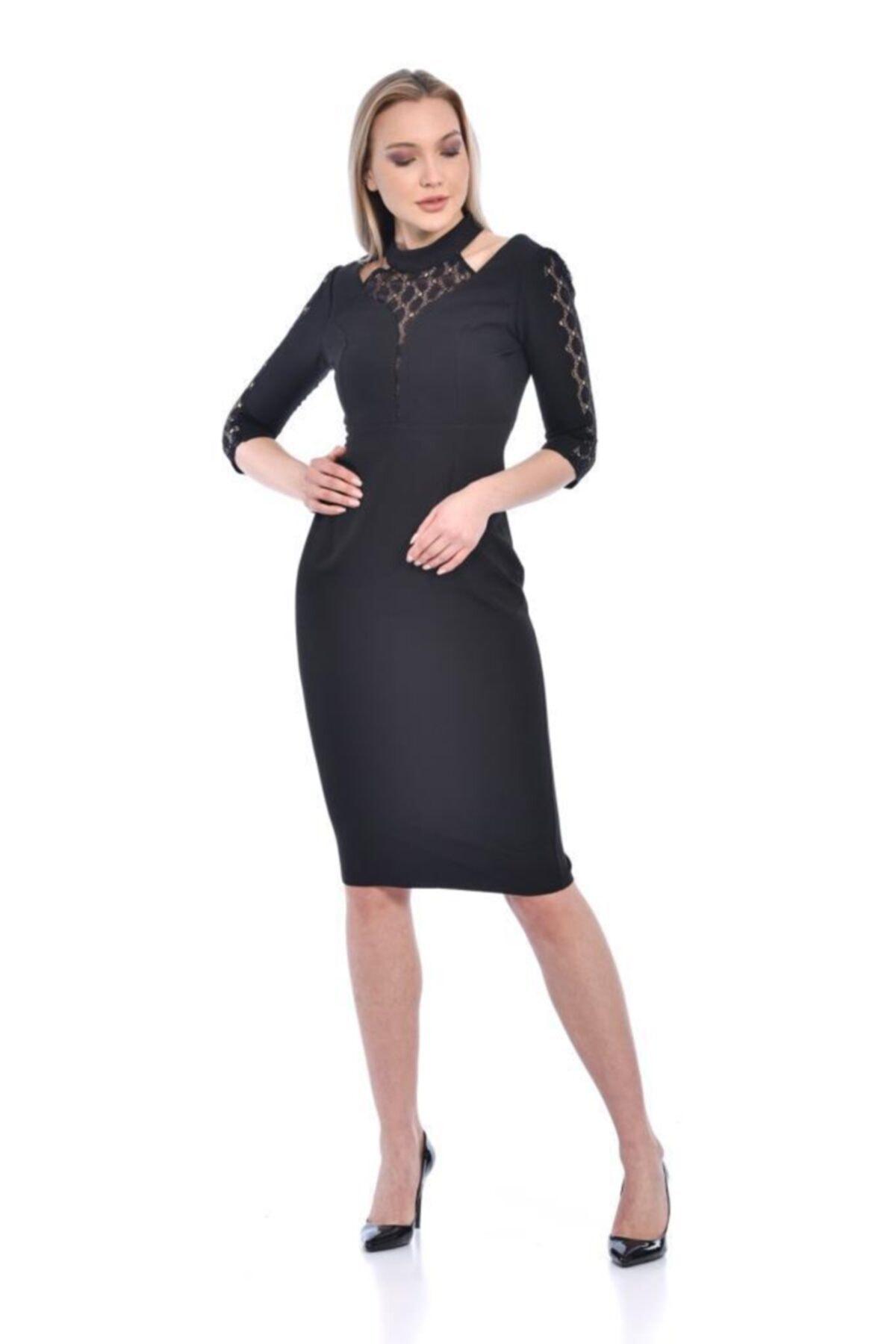 Modkofoni Balıkçı Yaka Uzun Kollu Dantelli Siyah Abiye Elbise 2