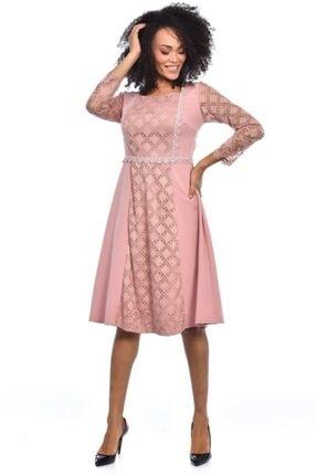 Modkofoni Pencere Yaka Astarlı Uzun Kollu Dantel Ve Güpürlü Somon Elbise