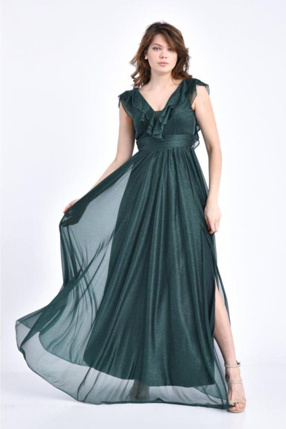 Modkofoni V Yaka Önden Yırtmaçlı Ve Simli Tül Yeşil Abiye Elbise 1
