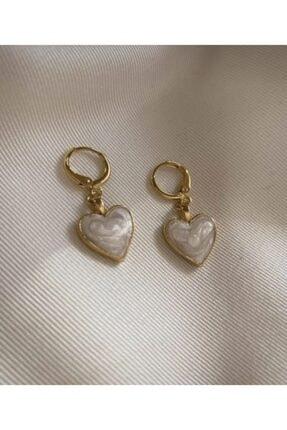 Claritas Takı Beyaz Sedefli Kalp Küpe