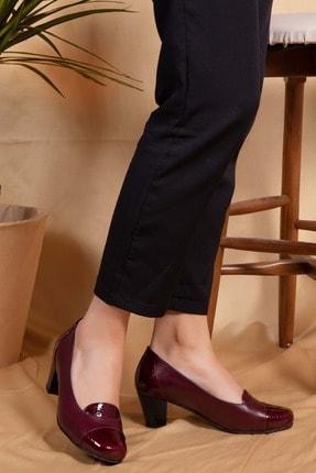 Gondol Kadın Bordo Petek Deri Topuklu Ayakkabı