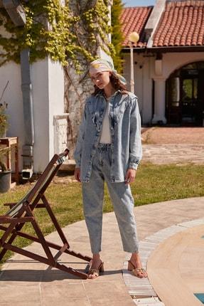 Trendyol Modest Gri Dar Paça Mom Jeans TCTSS21JE0625