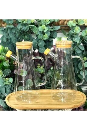 Paçi Bambu Kapaklı Vakumlu Borosilikat Cam Yağlık Sirkelik Bambu Altlık 3'lü Set