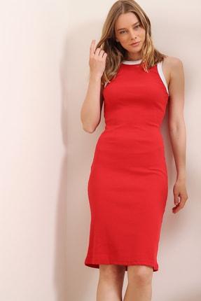 Trend Alaçatı Stili Kadın Kırmızı Fitilli Halter Yaka Midi Boy Elbise ALC-X6604