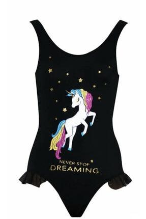 Kom Kız Çocuk Simli Unicorn Baskılı Siyah Mayo
