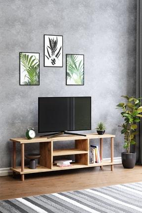 interGO Tv Sehpası Raflı Tv Ünitesi Televizyon Sehpası Ahşap Ayaklı Çam