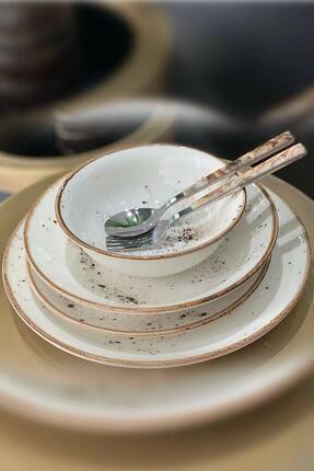 Tulü Porselen Krem Reaktif Yemek Takımı 6 Kişilik 24 Parça