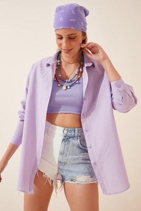 Happiness İst. Kadın Lila Oversize Uzun Basic Gömlek DD00842