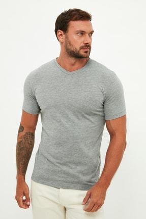 MANGO Man Erkek Gri T-Shirt 53900531