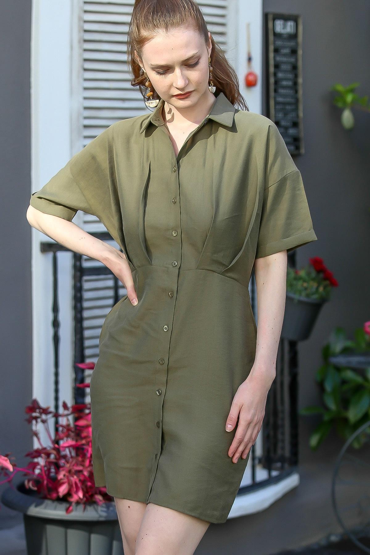 Chiccy Kadın Haki Gömlek Yaka Pile Detaylı Düğmeli Midi Dokuma Elbise M10160000El94776