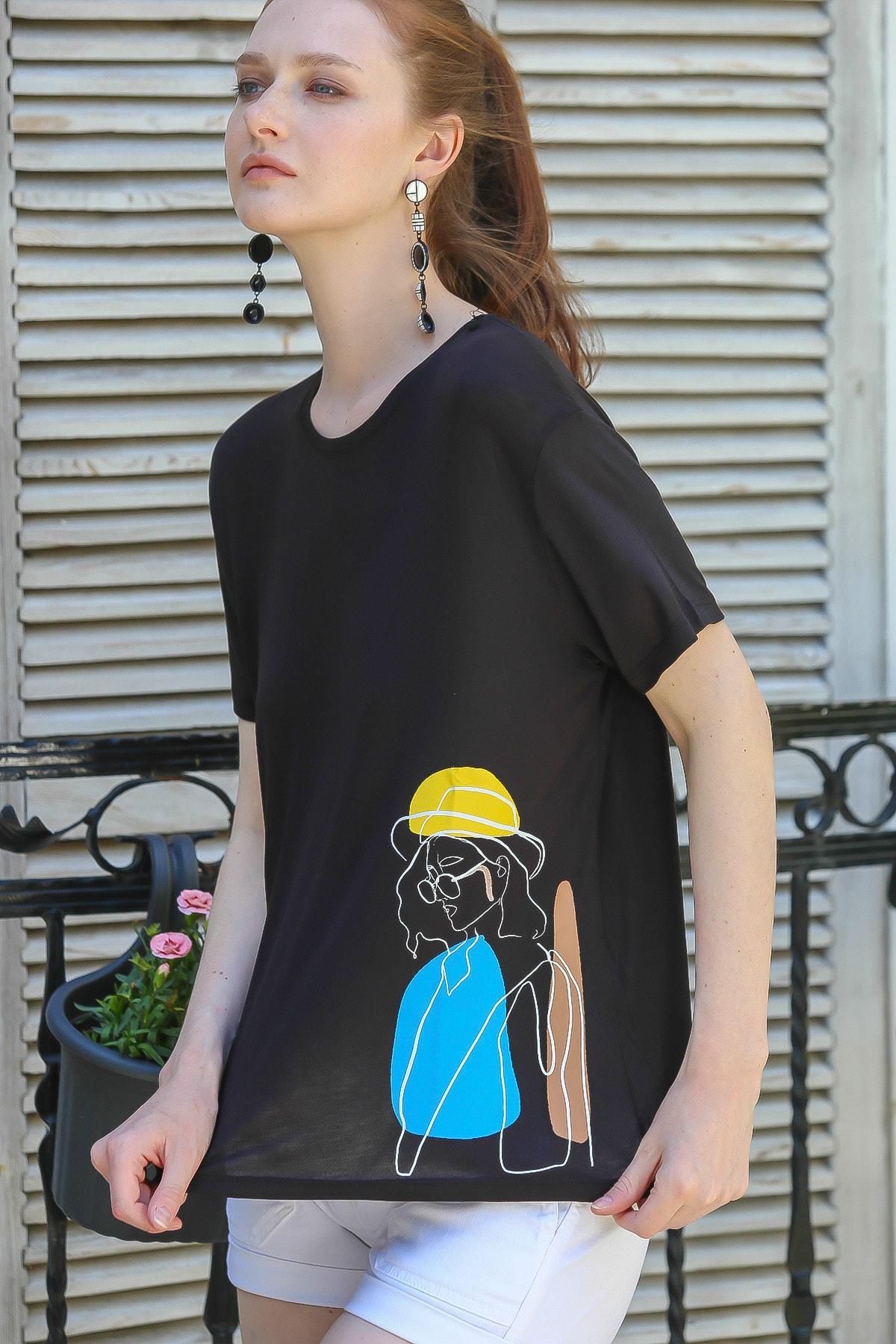 Chiccy Kadın Siyah Sıfır Yaka Kadın Baskılı Salaş T-Shirt M10010300Ts98164