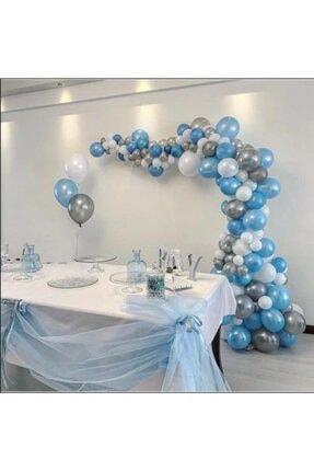 PARTİSEHRİ 100 Adet Mavi-beyaz-gümüş Parlak Balon 5 Metre Balon Zinciri
