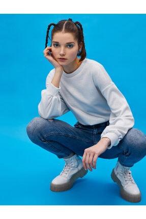 Koton Kadın Gümüş Çizgili Sweatshirt