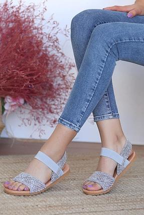Pembe Potin Kadın Gri Sandalet