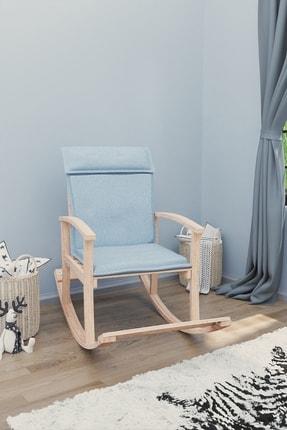 Mobildeco Pinokyo Ahşap Çocuk Sallanan Sandalye Koltuğu Mavi