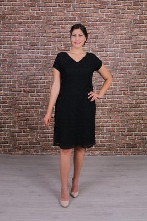 Nidya Moda Kadın Büyük Beden Vako Siyah Dantel Abiye Elbise-4035vs