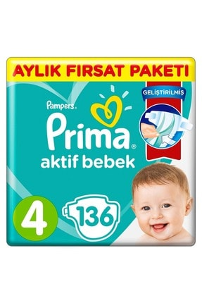 Prima Aktif Bebek No:4 Maxi Aylık Fırsat Paketi 9-14 kg 136 Adet
