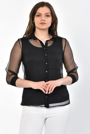Modkofoni Uzun Tül Kollu Siyah Gömlek