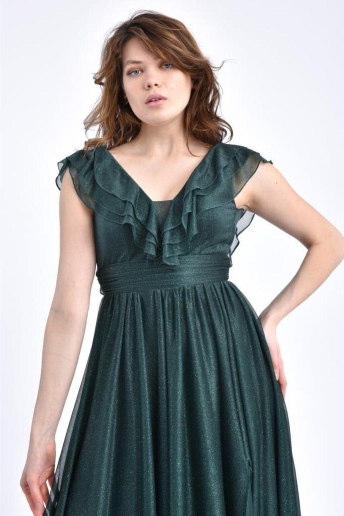 Modkofoni V Yaka Önden Yırtmaçlı Ve Simli Tül Yeşil Abiye Elbise 2