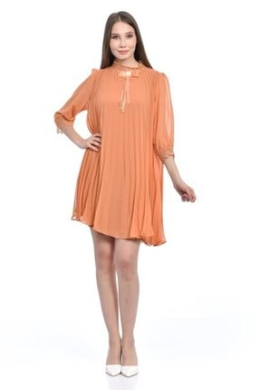 Modkofoni Balıkçı Yaka Kısa Kollu Broş Ve Dantel Detaylı Orange Abiye Elbise