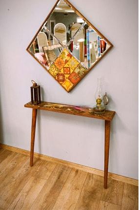 bluecape Rustik Wood Seramik Ceviz 92 Cm Ayaklı Dresuar Salon Mutfak Antre Hol Koridor Mobilyası