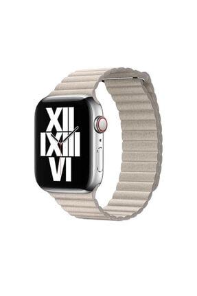 Apple Watch 44 Mm Deri Lop Kordon Kayış Gold Renk + Popsocket