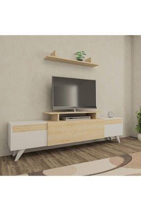 ARNETTİ Miray Tv Ünitesi Yaşam Odası, Salon, Ve Oturma Odası, Tv Sehpası Beyaz-safirmeşe