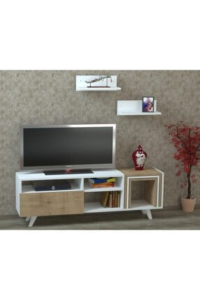ARNETTİ Lena Tv Ünitesi Yaşam Odası, Salon, Ve Oturma Odası, Tv Sehpası Beyaz-safirmeşe