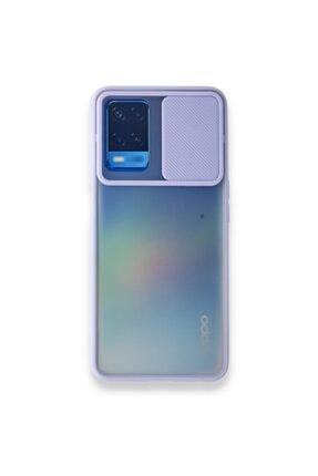 Oppo A54 4g Uyumlu Kamera Korumalı Kızaklı Mat Sert Kapak Silikon Kılıf Lila