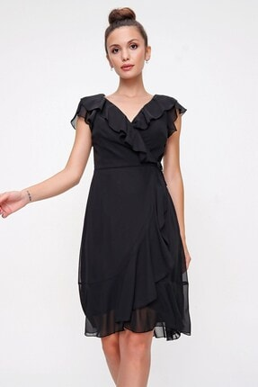By Saygı Volan Detaylı Astarlı Anvelop Şifon Elbise Siyah
