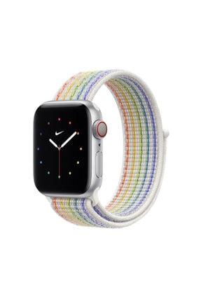 Apple Watch 38 mm Uyumlu Hasır Kordon Kayış Rainbow Renk + Popsocket