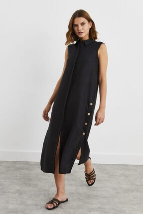 adL Yanları Çıtçıtlı Kolsuz Keten Elbise