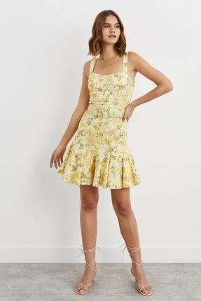 adL Kemerli Kalın Askılı Volanlı Mini Elbise