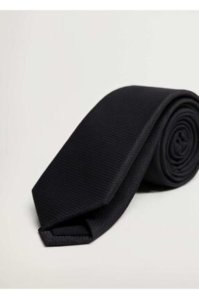 MANGO Man Erkek Siyah Mikro Kareli Kravat