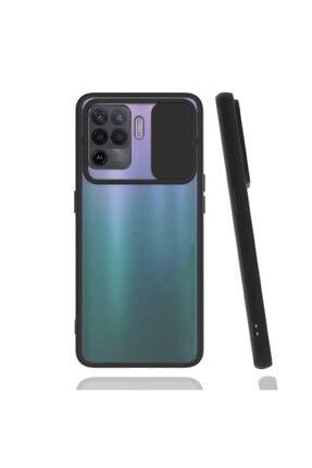 Oppo Reno 5 Lite Uyumlu Kılıf Slayt Sürgülü Kamera Lens Korumalı Buzlu Renkli Silikon