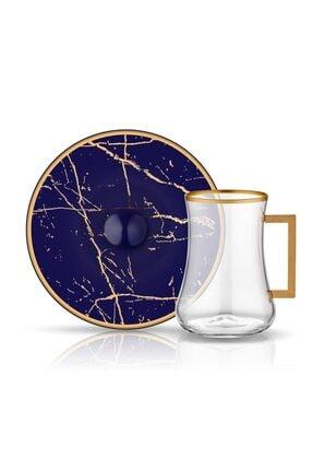 Koleksiyon1 Koleksiyon Dervish Kulplu Çay St 6'Lı Mermer Kobalt Mat Altın