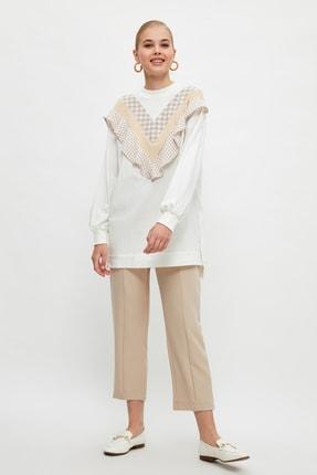 Trendyol Modest Bej Beli Lastikli Straight Fit Dokuma Tesettür Pantolon TCTSS21PL0570