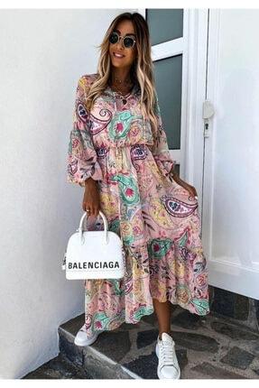 ELBİSENN Yeni Model Kadın Beli Lastikli Etnik Desen Süprem Elbise